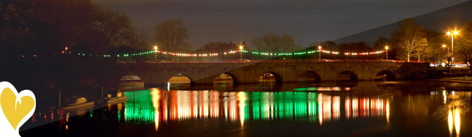 View of Stratford-upon-Avon Christmas lights
